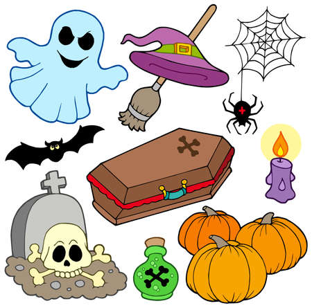 flying coffin: Various Halloween images 3 - vector illustration.