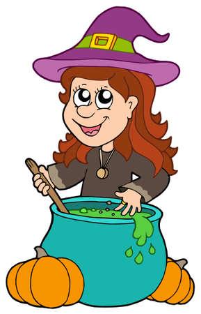 wizard hat: Asistente para chica con caldero - ilustraci�n vectorial.