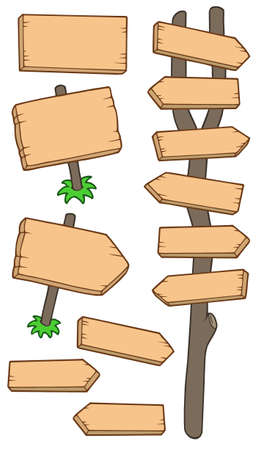Wooden roadsigns collection - vector illustration. Vector