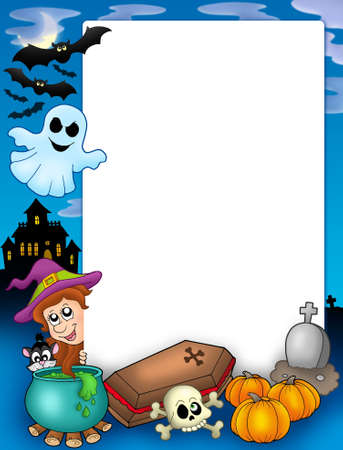 flying coffin: Halloween frame 1 - color illustration. Stock Photo