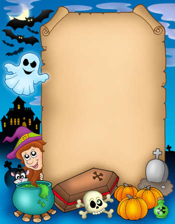 flying coffin: Halloween parchment 1 - color illustration. Stock Photo