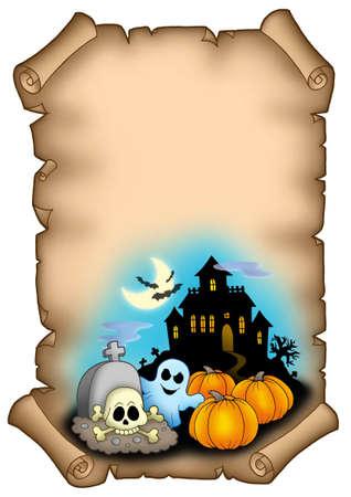 Halloween parchment 2 - color illustration. illustration