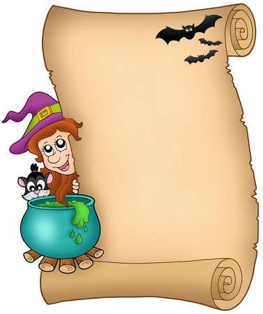 Halloween parchment 3 - color illustration. illustration