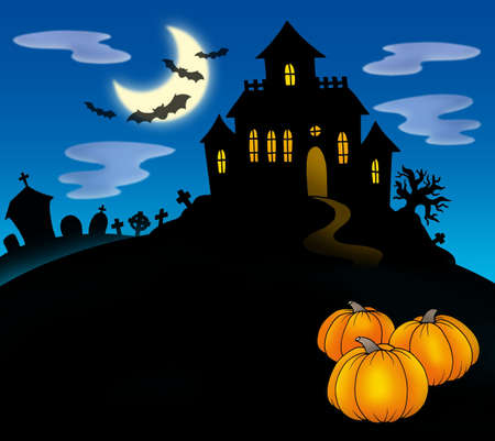 Haunted house with pumpkins - color illustration.