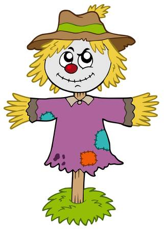 scare: Cartoon scarecrow on white background - vector illustration.