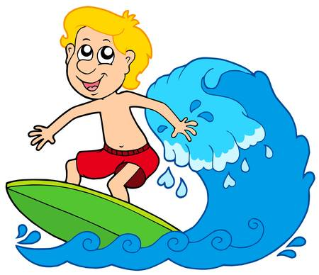 Cartoon surfer boy - vector illustration. Vector