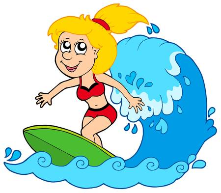 Cartoon surfer girl - vector illustration. Vector