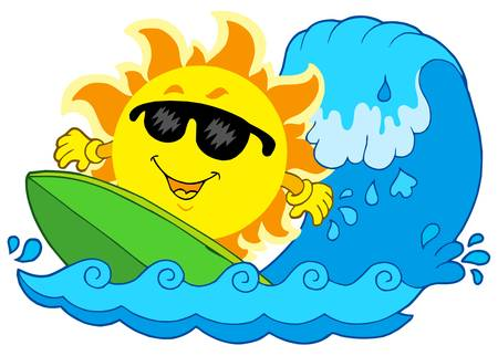 Surfing Sun on white background - vector illustration. Vector