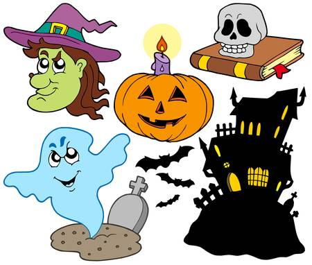 vector images: Various Halloween images 4 - vector illustration. Illustration