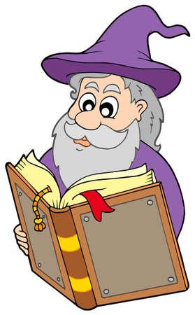 Wizard reading magic book - vector illustration. Stock Vector - 5224451