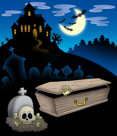 flying coffin: Cemetery with haunted house - color illustration.