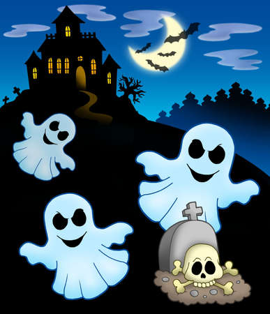 Ghosts with haunted house - color illustration. illustration