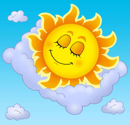 Sleeping Sun with pillow on sky - color illustration. Stock Illustration - 5224436