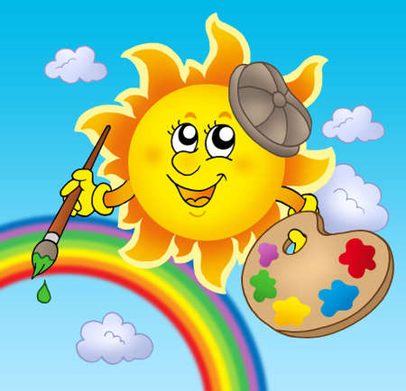 day forecast: Sun artist with rainbow - color illustration. Stock Photo