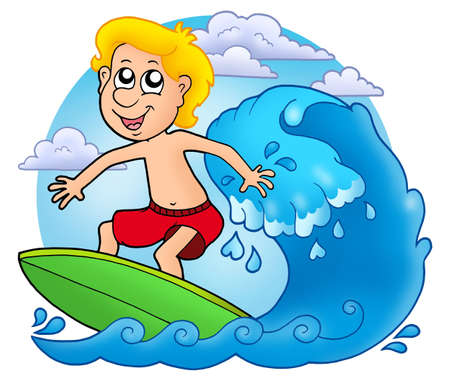 cartoon surfing: Surfer boy with clouds - color illustration. Stock Photo