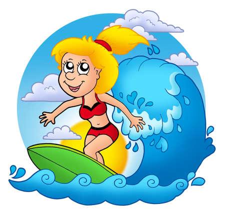 Surfer girl with Sun - color illustration. illustration