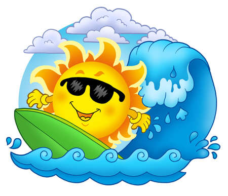 cloud clipart: Surfing Sun with clouds - color illustration.