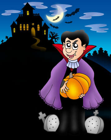 moon gate: Vampire with pumpkin before house - color illustration.