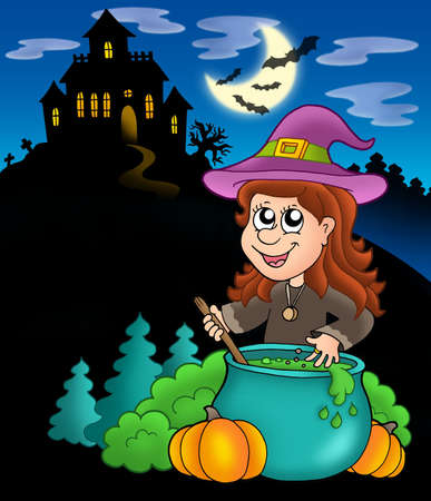 Wizard girl with haunted house - color illustration. Stock Illustration - 5224447