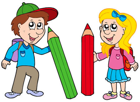 pupils: Boy and girl with giant crayons - vector illustration. Illustration