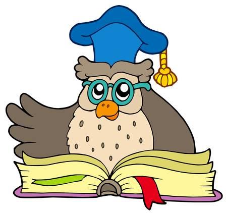 Caricatura profesor búho con libro - ilustración vectorial.