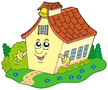 Cartoon school building - vector illustration. Stock Vector - 5257719
