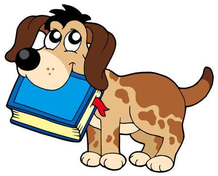 bring: Dog holding book - vector illustration.