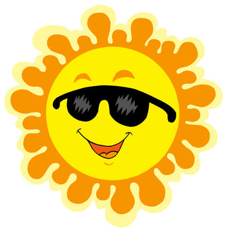 Funny Sun cartoon - vector illustration. Vector