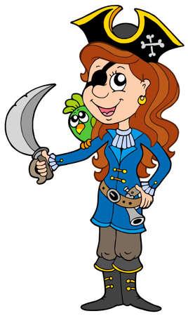 filibuster: Pirata ragazza con pappagallo e sciabola - illustrazione vettoriale. Vettoriali