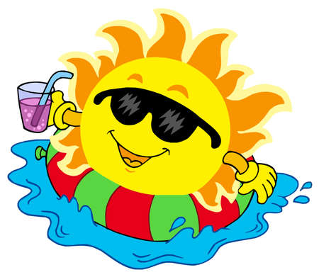 Sun with drink in water - vector illustration.