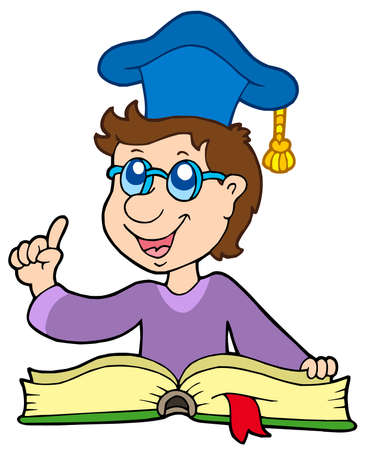 college professor: Teacher with book - vector illustration.