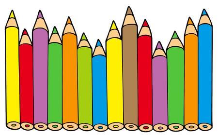 Crayons de couleurs différentes - illustration vectorielle.