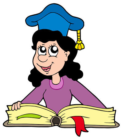 college professor: Woman teacher with book - vector illustration. Illustration