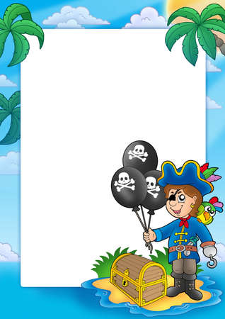 scarf beach: Frame with pirate boy - color illustration.