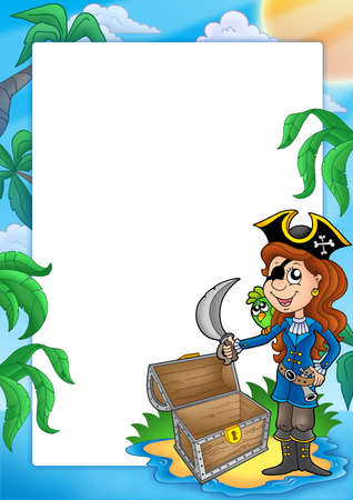 Frame with pirate girl on beach - color illustration. Stock Illustration - 5337462
