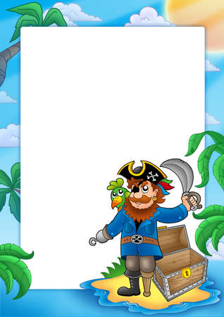 frown: Frame with pirate on beach - color illustration.