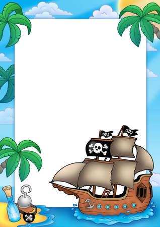 pirates flag design: Frame with pirate ship - color illustration.