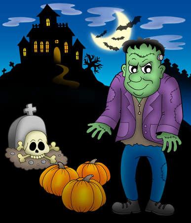 Frankenstein with haunted mansion - color illustration.