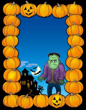 Halloween frame with Frankenstein - color illustration. illustration