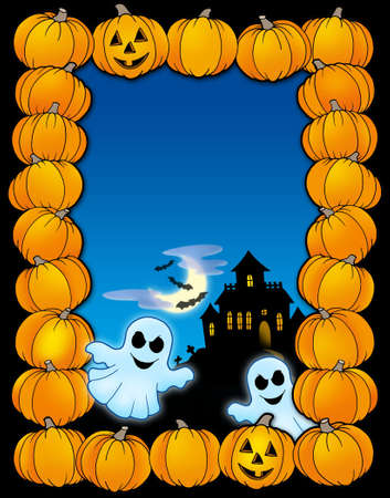 haunt: Halloween frame with ghosts - color illustration. Stock Photo