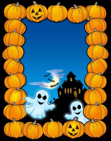 Halloween frame with ghosts - color illustration. illustration