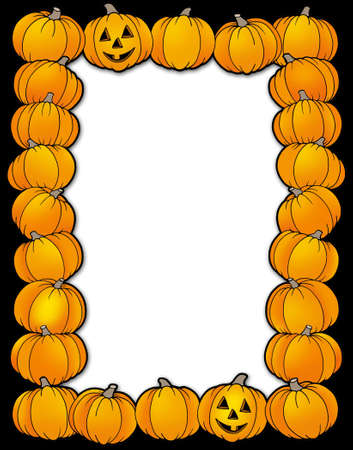 Halloween frame with pumpkins - color illustration. illustration