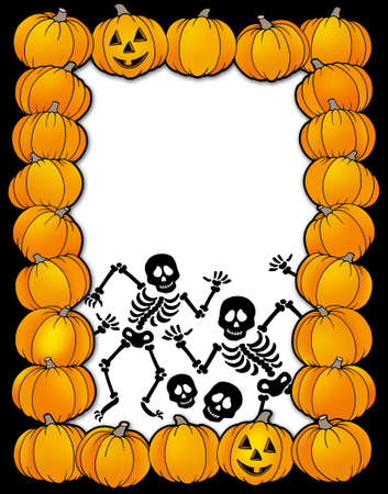 Halloween frame with skeletons - color illustration. illustration