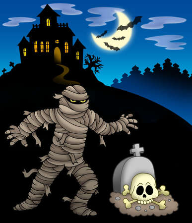 Mummy with haunted mansion - color illustration. illustration