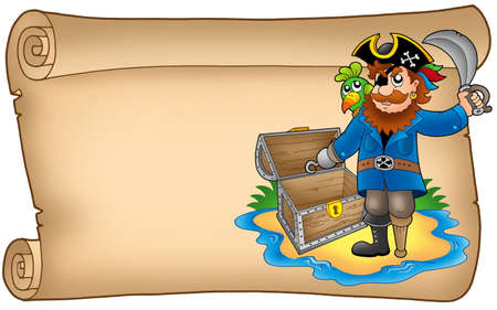 Old scroll with pirate - color illustration. illustration
