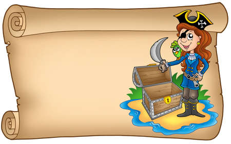 Old scroll with pirate girl - color illustration. illustration