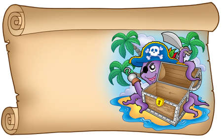 unlocked: Old scroll with pirate octopus - color illustration.