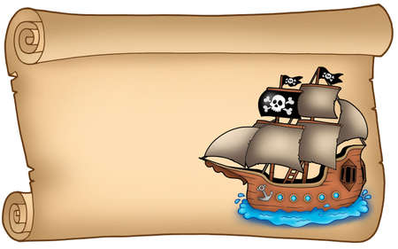 pirates flag design: Old scroll with pirate ship - color illustration.