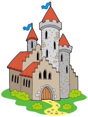 ch�teau m�di�val: Ancien ch�teau m�di�val - illustration vectorielle. Illustration