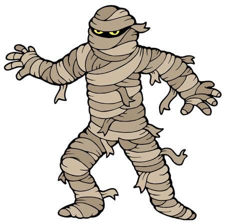 scary eyes: Ancient mummy on white background - vector illustration.